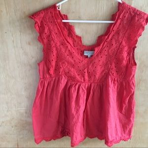 Lucky Brand Red Cotton Tank with eyelet lace